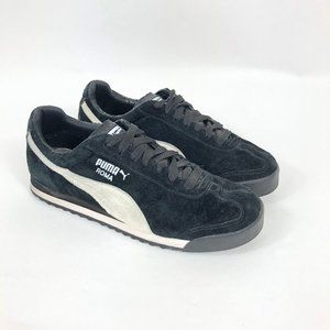 Puma Roma Black & White Suede Athletic Sneaker